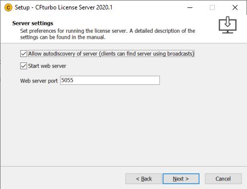 General > Licensing > Network license setup > License server